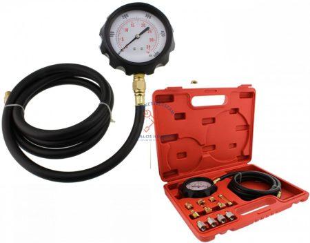 Motorolaj és sebességváltó-nyomásmérő diagnosztikai tesztkészlet adapterekkel